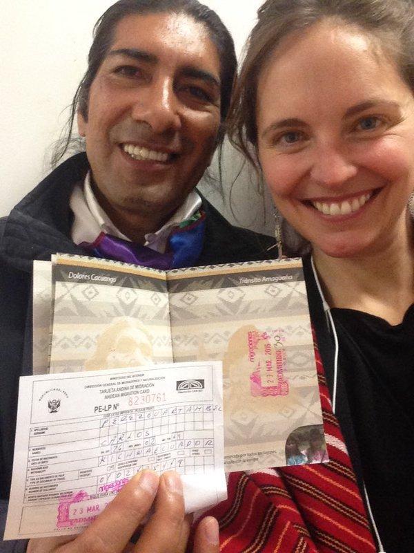 Con el pasaporte kichwa, marzo 2016.