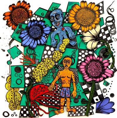 Jardín del pulpo, gouache, tinta y collage sobre papel recortado, 50 x 50 cm, 2011.