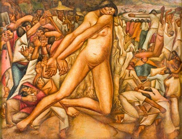 Pachamama. Mena Franco, 1945. Óleo sobre lienzo.Ibarra, primera dama de la nación, y el presidente José María Velasco Ibarra, en el Museo del Banco Central del Ecuador, 1969.