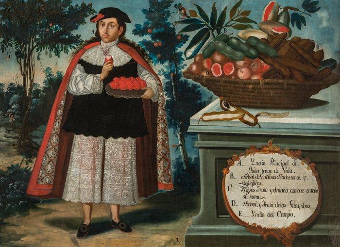 Indio principal de quito con traje de gala, Vicente Albán, 1783.