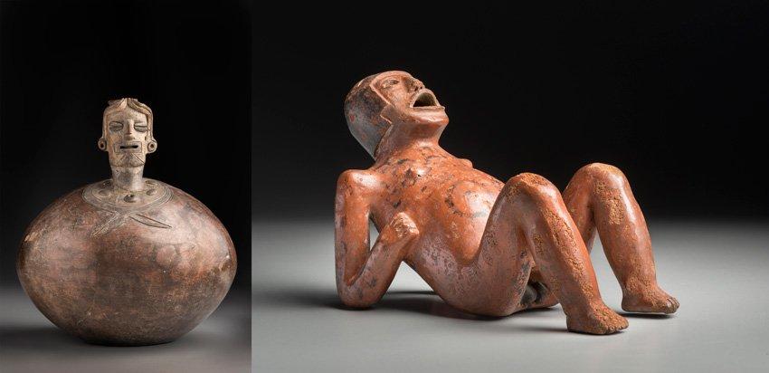 Botella con representación de personaje, transición Chorrera-Bahía, 600-500 a. C. Personaje recostado, cultura Pasto / tradición Capulí, 700-1500 d. C.