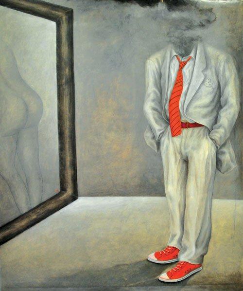 Caballero con zapatos rojos.