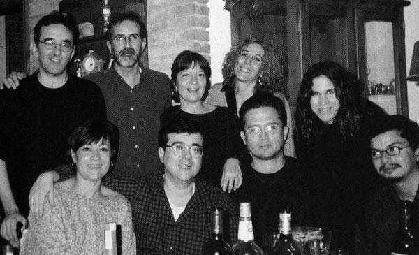 Con Roberto Bolaño (izq.), Javier Cerca (centro) y Manuel Portas (der.) Barcelona, 2001.