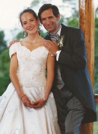 El día de su boda con María Lorena Correa, en Quito.