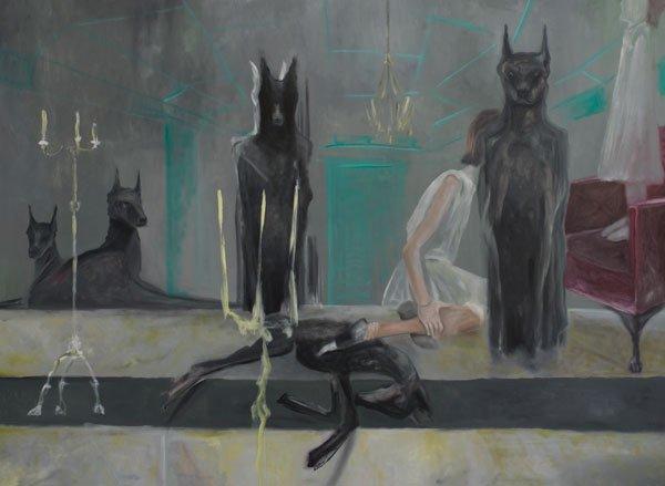 La niña de los perros, óleo sobre lienzo, 2018.