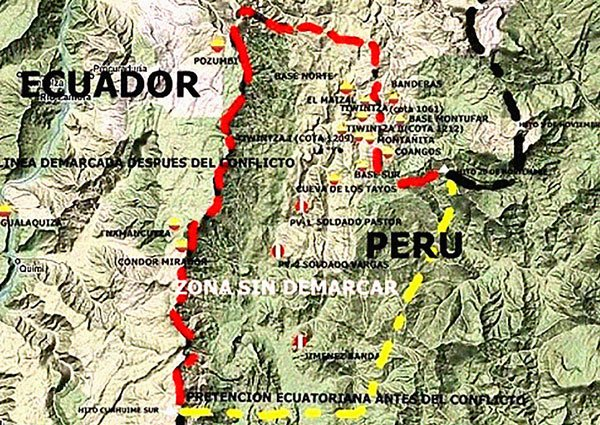 Croquis de zona de la guerra del Cenepa, que ocurrió en el lado oriental de la cordillera del Cóndor, sobre la cuenca del río Cenepa, en territorios en disputa desde 1994 y que enfrentó a las fuerzas armadas del Perú y el Ecuador durante los meses de enero y febrero de 1995.
